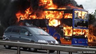 Bus on fire on M4