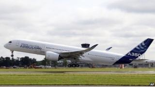 The Airbus A350 takes off successfully on its maiden flight at Blagnac airport near Toulouse, southwestern France