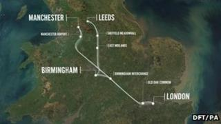 Handout image of the HS2 route