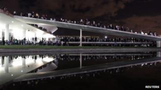 Demonstrators outside the national congress building in Brasilia (17 June)
