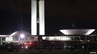 Protesters outside the national congress building in Brasilia