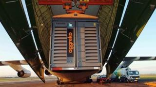 Aggreko container being loaded on to Antonov plane