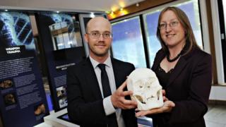 Professor Russell Harris, from Loughborough University, and senior curator Laura Hadland