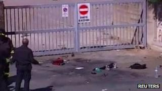 Blast scene outside Francesca Morvillo Falcone vocational school