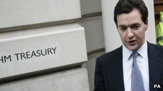 George Osborne outside the Treasury