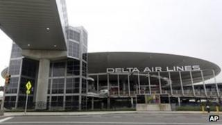The empty Delta airlines terminal 3 at JFK airport is seen 24 May 2013