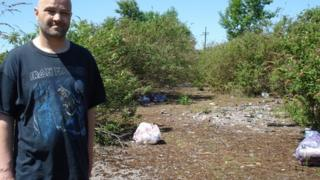 Councillor Patrick Maycock-Jones on land between Caldicot and Rogiet where household rubbish is dumped
