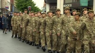 The soldiers and other military personnel marched through Leicester city centre