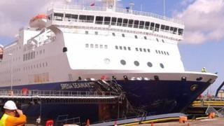 Ferry hitting quayside