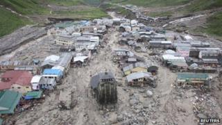 Buildings damaged by floods in Kedarnath, Uttarakhand state. Photo: 18 June 2013