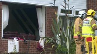 Windows blown out by gas explosion
