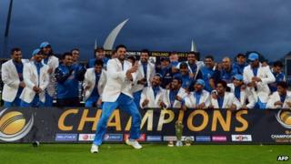 Virat Kohli dances as India celebrate after winning the 2013 ICC Champions Trophy at Edgbaston in Birmingham on 23 June 2013