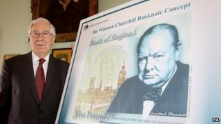 Mervyn King unveils the new £5 note