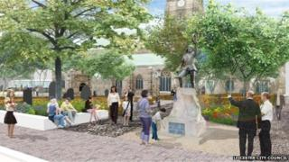 Design of the new gardens and Richard III statue outside Leicester Cathedral