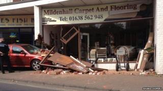 A car crashed into Mildenhall Carpet and Flooring