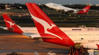 A Qantas Boeing 747 taking-off at Sydney Airport (June 2011)