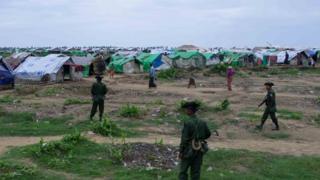 Burmese soldiers at a Rohingya camp