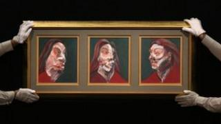 1966 triptych portrait of Isabel Rawsthorne