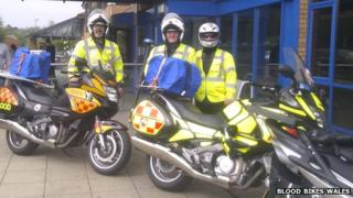 Bikers, including Andy Walters centre