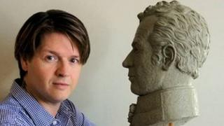 Christian Corbet and the bust of Major General Sir Isaac Brock