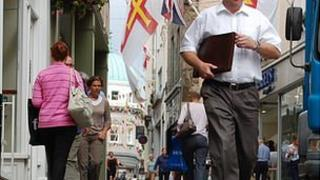 People walking in the High Street in St Peter Port