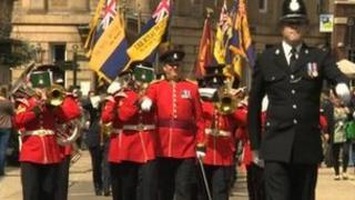 Parade of military personnel in York