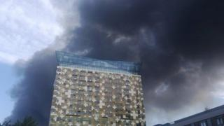Smoke is seen drifting over Birmingham city centre