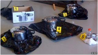 Pressure cookers to be used as explosive devices, in Victoria, British Columbia 1 July 2013