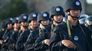 Anti-terrorism force personnel have been conducting exercises in Xinjiang