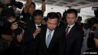 Former Feng shui practitioner Peter Chan Chun-chuen enters the High Court on July 4, 2013 in Hong Kong, China.