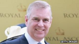Prince Andrew presenting The Coronation Stakes Cup on day four of Royal Ascot on 21 June 2013