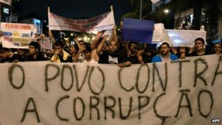 Brazilians protesting about corruption in June, 2013