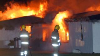 Fire fighters at the Mermaid leisure complex at Southerness