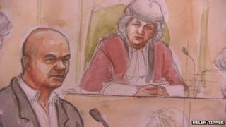 Court artist sketch of Mariusz Krezolek giving evidence