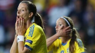 Lotta Schelin of Sweden misses a penalty
