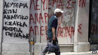 Greek graffiti in Athens calling for the hunger striker's release