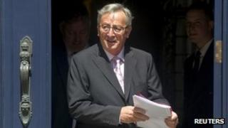 """Luxembourg""""s PM Jean-Claude Juncker leaves a meeting with Grand Duke Henri at the Grand Ducal Palace in Luxembourg on 11 July 2013"""