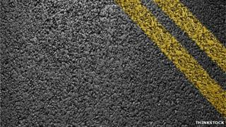 Road with double yellow lines