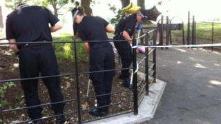 Police searching Oaklands Park, Yardley, near the scene of the stabbing