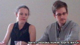Former CIA employee Edward Snowden during a press conference