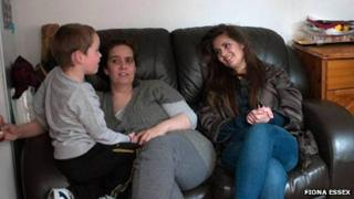 Isabel (centre), Sarah and her four-year-old brother