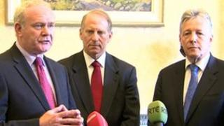 Martin McGuinness, Richard Haass and Peter Robinson.