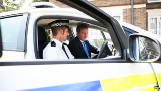 David Cameron visiting a crime prevention initiative