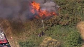 Grass fire in Mitcham