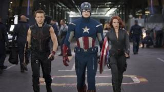 Hawkeye (Jeremy Renner), Captain America (Chris Evans) and Black Widow (Scarlett Johansson) in The Avengers