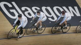 Cyclists at new velodrome in Glasgow