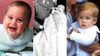 Prince William, Prince Charles and Prince Harry as babies