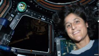Sunita Williams in the cupola of the International Space Station