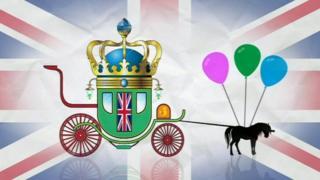Royal baby buggy design on Union Jack background