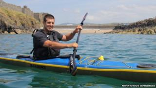George Shaw in his kayak